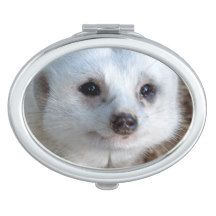 White #meerkat Face Ladies #compact Mirrors For Makeup