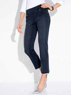 Order women's skinny jeans now. Buy without worry, 30 Day returns policy ✓ Secure, simple payment ✓ Top quality natural fibres ✓ Peter Hahn Blue Denim, Dark Blue, Skinny Jeans, Tops, Pants, Stuff To Buy, Fashion, Legs, Women's