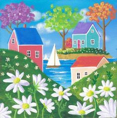 Daisy Hills Folk Art Print by KimsCottageArt on Etsy Daisy Hill, Cottage Art, Pintura Country, Naive Art, Pictures To Paint, Flat Design, Diy Painting, Oeuvre D'art, Canvas Frame