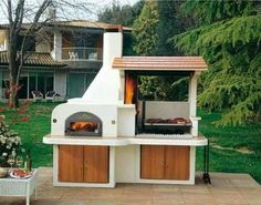 island kitchen ideas Outdoor BBQ kitchen island is a great addition to your outdoor living spaces, inviting to spend more time in the summer making delicious barbecue meals and enjoying outdoor dining with family and friends Outdoor Bbq Kitchen, Pizza Oven Outdoor, Backyard Kitchen, Outdoor Kitchen Design, Summer Kitchen, Outdoor Cooking, Outdoor Dining, Outdoor Kitchens, Outdoor Pergola