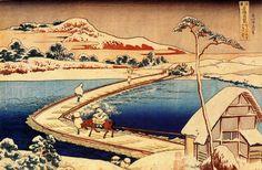 Hokusai Katsushika, Ancient Pontoon Bridge at Sano Kozuke Province