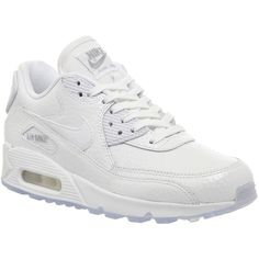 Nike Air Max 90 Pearl Pack (w) (1,715 MXN) ❤ liked on Polyvore featuring shoes, sneakers, nike, trainers, hers trainers, white metallic silver, metallic sneakers, white trainers, nike footwear and nike trainers