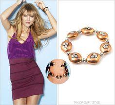 Cosmopolitan magazine | December 2012 Vanessa Mooney 'The Wayward Girl Bracelet' - $60.00 Worn with: Kelly Wearstler skirt Track the rest of Taylor's Cosmopolitan spread here.