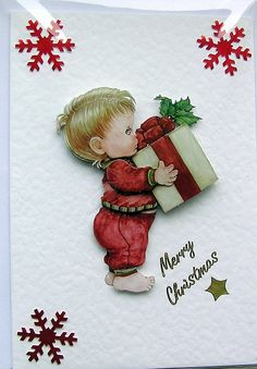 Christmas Card  Merry Christmas HandCrafted 3D by SunnyCrystals, £1.35