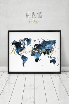 Wanderlust travel map World map watercolor print by ArtPrintsVicky