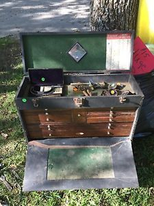 H. Gerstner Vintage 11 Drawer Dark Oak Machinest Chest Tool Box w