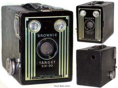Find information and learn the history of the Kodak Brownie Target camera on The Brownie Camera Page, dedicated to past, present, and future Brownie photographers everywhere. Box Brownie Camera, Photo Bag, Vintage Cameras, Vintage Market, Slr Camera, Art Deco Design, Front Design, Crafts To Do, Antiques