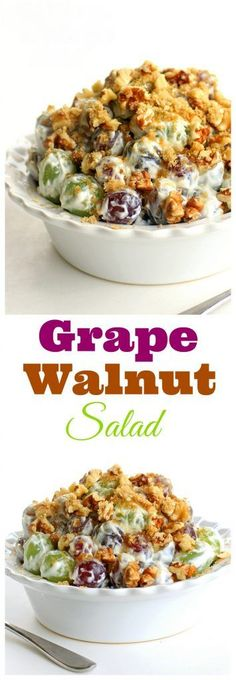 Salad Grape Walnut Salad - a unique fruit salad that is always a crowd pleaser! the-girl-who-ate-Grape Walnut Salad - a unique fruit salad that is always a crowd pleaser! the-girl-who-ate- Grape Salad, Fruit Recipes, Salad Recipes, Cooking Recipes, Recipies, Healthy Snacks, Healthy Eating, Healthy Recipes, Kitchen
