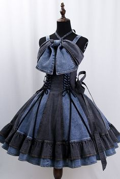 """heron denim jsk by witch of the heisei Pre-order ends "" Harajuku Fashion, Kawaii Fashion, Lolita Fashion, Emo Fashion, Gothic Fashion, Pretty Dresses, Beautiful Dresses, Anime Dress, Inspiration Mode"