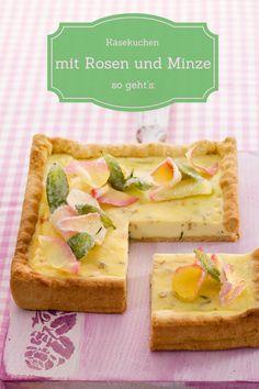 Cheesecake mit einem Boden aus lockeren Kuchenbiskuit, darauf gebettet eine Creme aus leichten Frischkäse und Eiern mit dem besonderen Aroma der Rose verfeinert. Schön dekoriert mit Blütenblättern und erfrischender Minze ein Hingucker für jede Gelegenheit!
