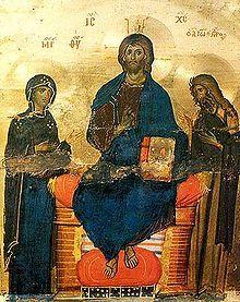 Deisis - Krist u slavi ili Krist Pantokrator, iz bizantske umjetnosti, na tronu, s knjigom, uz kojeg su Marija i sv. Ivan Krsititelj podignutih ruku; samostan sv. Katarine, Sinaj