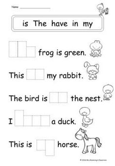 Do your students need help with developing their comprehension skills and learning sight words? These no prep worksheets are perfect for developing your students' reading skills. English Grammar For Kids, English Lessons For Kids, English Worksheets For Kids, English Activities, First Grade Worksheets, Sight Word Worksheets, Phonics Worksheets, Nursery Worksheets, First Grade Reading Comprehension