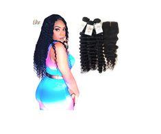 3 Bundles with Lace Closure Deep Wave Human Hair
