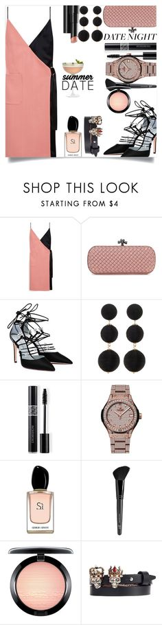 """""""Smokin' Hot: Summer Date Night"""" by tina-abbara ❤ liked on Polyvore featuring Mulberry, Bottega Veneta, Cara Accessories, Arbonne, Christian Dior, Hublot, Armani Beauty, Old Navy, MAC Cosmetics and Alexander McQueen"""