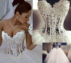 white-ivory-Wedding-dress-Bridal-Gown-custom-size-4-6-8-10-12-14-16-18-20-22