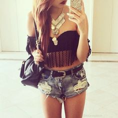 Summer Outfit - Ripped Shorts - Crop Top