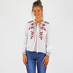 Vero Moda White Long Sleeve Top With Embroidered Front And Tie Neck White Long Sleeve, Long Sleeve Tops, Tie, Blouse, Fabric, Sleeves, Beautiful, Women, Fashion