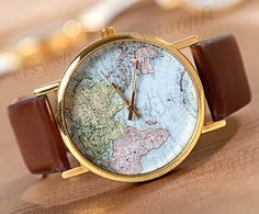 World map watch, leather watch,man wrist watch, unisex watch,women watch W004