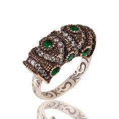 The Zerbap Ahla Ring with Zircon Emerald Stones by Rosestyle, $33.50