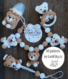 PDF patterns My little Bear - Stroller Chain, Baby Rattle, Pacifier Chain an. -Set PDF patterns My little Bear - Stroller Chain, Baby Rattle, Pacifier Chain an. Baby Boy Knitting, Crochet Baby Toys, Crochet Bunny, Hat Crochet, Crochet Bear Patterns, Pdf Patterns, Baby Patterns, Newborn Knit Hat, Diy Bebe