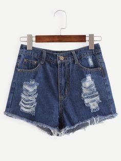 Ripped Raw Hem Blue Denim Shorts -SheIn(Sheinside)