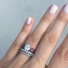 Vintage inspired ruby and diamond engagement ring and wedding bands stack