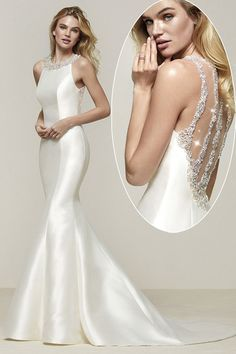 Alluring Tulle & Satin Jewel Neckline Mermaid Wedding Dress With Beadings