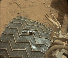 Engineers are faced with surprising wheel damage on the Curiosity Mars rover mission.