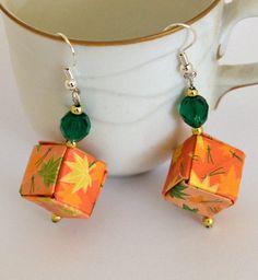 Orange Origami Cube Earrings Paper Geometric Jewelry by JustFolds, $10.00