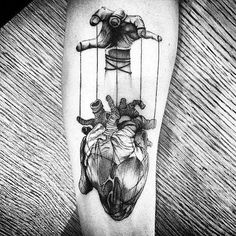 Top 90 Anatomische Herz Tattoo Ideen - Inspiration Guide] - Gentleman With Heart Tattoo, gezogen von Puppet Strings In Blackwork On Thigh - Puppet Tattoo, Marionette Tattoo, Tattoo Drawings, Body Art Tattoos, Sleeve Tattoos, Cool Tattoos, Tatoos, Creepy Tattoos, Tattoos 3d