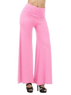 Women Loose Pleated Solid Yoga Pants Hot Pink