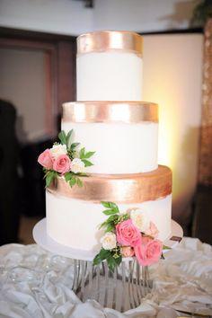Three Tier Wedding Cake with Metallic Details   Photo: Toto Villaruel and Nicolai Melicor