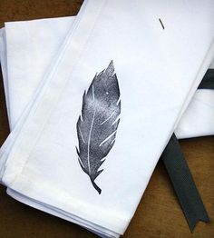 Feather Cloth Dinner Napkins By Urban Bird & Co. Super cute black and white feather block print on white cotton.