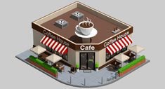 Low Poly Coffee Shop | 3D Model