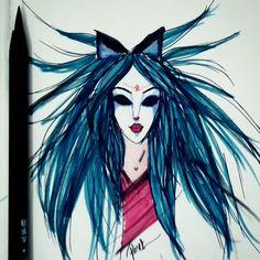Aquele desenho da madrugada 😛  #art #arte #drawing #desenho #fox #illustration #ink #inspiration #kitsune #markers #sketch #sketchbook #weird #roselices #inktober #inktober2016