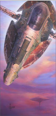 Hunter Prevails - William Silvers - Star Wars Fan Art// Slave I Film Star Wars, Nave Star Wars, Star Wars Fan Art, Star Trek, Interstellar, V Wings, Chasseur De Primes, Images Star Wars, Drawn Art