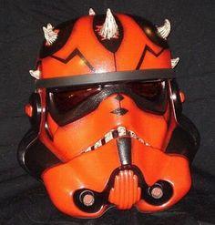 Two new custom Stormtrooper helmets for the TK Project: Darth Maul helmet by Ken Caslis. Flipper helmet by Daniel Bergren.