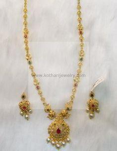 Gold Necklace - 22KT Pacchi Uncut Diamond Mango Necklace, 22Kt Kundan Bridal Jewellery Necklace Set, 22kt Lakshmi gaja with peacock uncut diamonds set