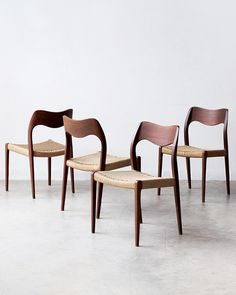 "1,073 Likes, 29 Comments - Noden (@_noden_) on Instagram: ""Iconic vintage Niels Møller model 71 chairs in teak. Designed in 1951. Labelled & produced by J.L.…"""