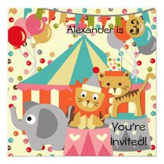 Customized Retro Circus Birthday Invitations  #birthdays #kids #invitations #circus