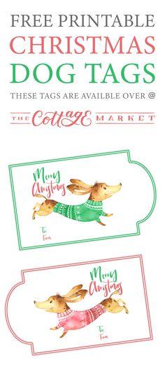 Free Printable Christmas Dog Tags