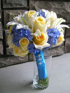 yellow and blue bridal bouquets   Floralshowers   Pale Yellow & Blue Wedding Flowers   FloralShowers