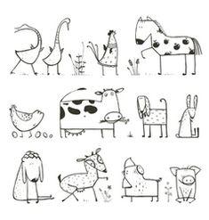Funny cartoon farm pet sketches by Popmarleo on VectorStock® - Animals . - Funny cartoon farm pet sketches by Popmarleo on VectorStock® – Animals & Wildlife - Animal Sketches, Animal Drawings, Drawing Sketches, Drawing Tips, Farm Animals, Funny Animals, Cute Animals, Tier Doodles, Animals Crossing