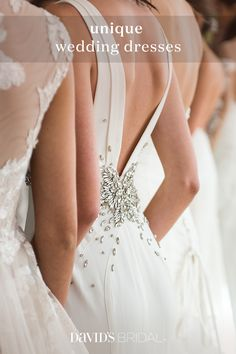 Find the gown that calls to you. An alluring lace wedding dress brings to mind the classic glamour of Old Hollywood—after all, what could be more glamorous than looking amazing from every angle? David's Bridal's collection of wedding dresses includes styles and cuts to flatter all body types, from petite to plus size. Browse our selection of beautiful wedding dresses to find your dream gown today.