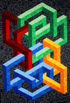 """The illusion of created with vertical rows of equilateral triangles and no """"Y"""" seams, finished size: x Optical Illusion Quilts, Optical Illusions, Geometric Drawing, Geometric Art, Quilt Kits, Quilt Blocks, Quilting Room, Quilting Ideas, 3d Quilts"""