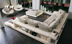 Amazing White Sofa Design With Bookcase In The Behind And Side Sofa For Decoration Your Living Room Beautiful Sofa Design With Bookcase Ideas For Your Inspiring White Sofa Design, Sofa Table Design, Living Room Storage, Living Room Sofa, Living Room Decor, Living Rooms, Corner Sofa Fabric, Fabric Sofa, Canapé Design