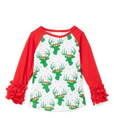 This White & Red Reindeer Ruffle Raglan Tee - Infant, Toddler & Girls is perfect! #zulilyfinds