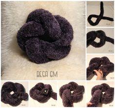 Billedresultat for star knot pillow tutorial Knot Cushion, Knot Pillow, Yarn Crafts, Diy And Crafts, Diy Pillows, Throw Pillows, Crochet Projects, Sewing Projects, Pillow Tutorial