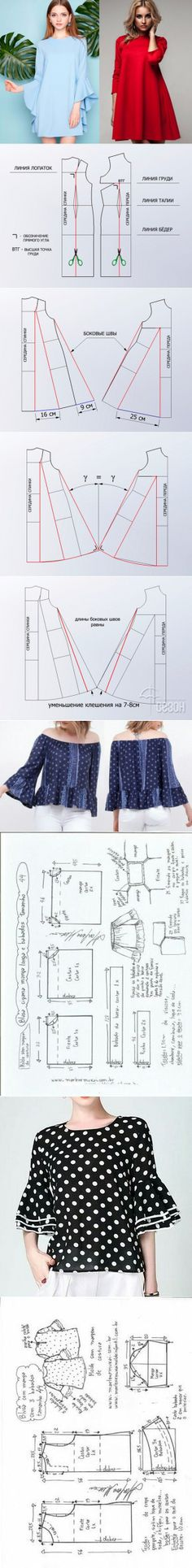 ru - Do it Yourself Clothes Dress Sewing Patterns, Blouse Patterns, Clothing Patterns, Diy Clothing, Sewing Clothes, Fashion Sewing, Diy Fashion, Aya Couture, Tent Dress