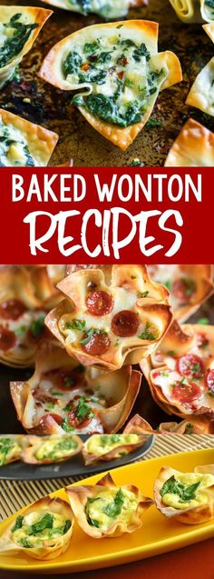 Crispity crunchity wontons make the ultimate party appetizer or snack! I've rounded up 10 of our favorite baked wonton recipes, perfect for sharing! Wonton Wrapper Appetizers, One Bite Appetizers, Wonton Recipes, Finger Food Appetizers, Oven Recipes, Yummy Appetizers, Appetizers For Party, Appetizer Recipes, Cooking Recipes